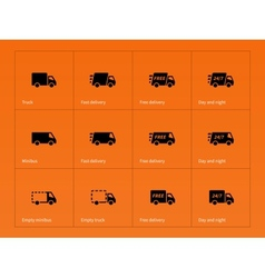 Delivery Trucks icons on orange background vector image