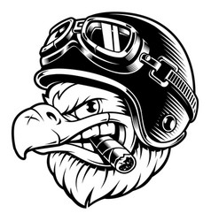 Eagle biker with cigar vector
