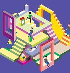 Isometric man in levels vector image