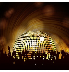 sparkling disco ball and crowd vector image vector image