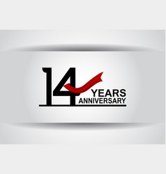 14 years anniversary design with red ribbon vector