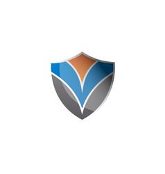abstract shield logo design element vector image