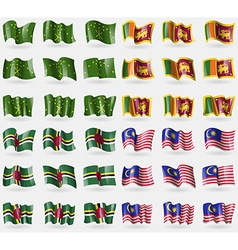 Adygea Sri Lanka Dominica Malaysia Set of 36 flags vector image