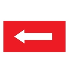 Arrow sign white icon in red rectangle vector image