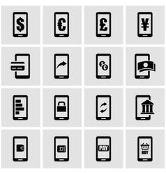 black mobile banking icon set vector image