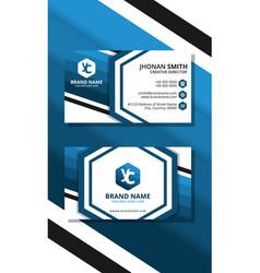 blue hexagon modern creative business card vector image