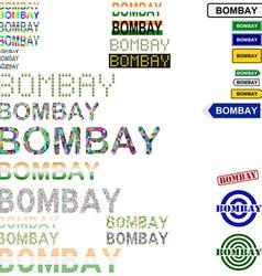 Bombay text design set vector