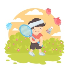 Boy playing badminton vector