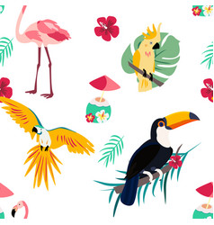 Bright pattern with toucan flamingo parrot and vector