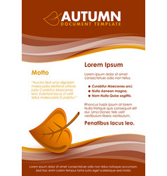 brown seasonal autumn document template with leaf vector image