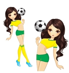 Brunette brazilian soccer girl vector