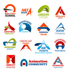 Business icons letter a corporate identity vector