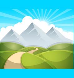 cartoon landscape sun cloud vector image vector image