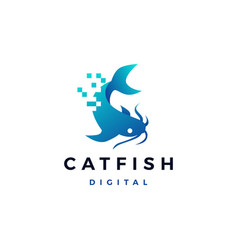 cat fish digital pixel logo icon vector image