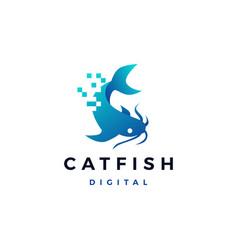 Cat fish digital pixel logo icon vector