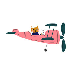 Cat pilot flying on retro plane in sky cute vector