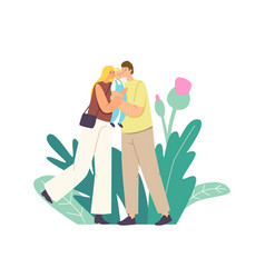 caucasian parents kiss bamother and father vector image
