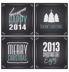 chalkboard style christmas greeting cards set vector image