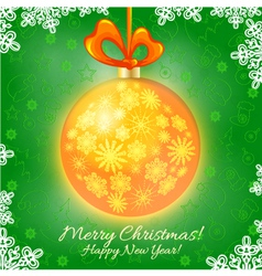 Christmas card with Christmas ball vector image