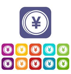 Coin yen icons set vector