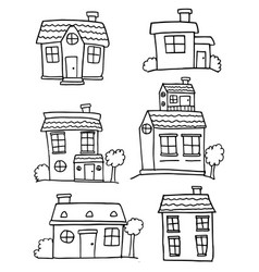 Collection of house various hand draw vector