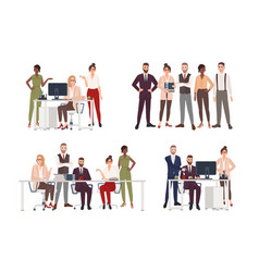 Collection scenes with group office workers vector