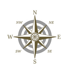 Compass icon wind rose vector