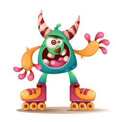 Crtoon monster characters roller skate vector