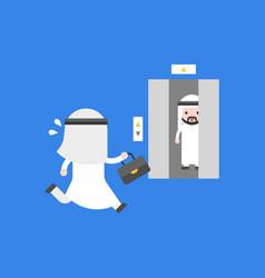 cute arab businessman rushing runing to elevator vector image