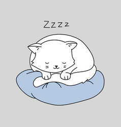 Cute cat character white kitten is sleeping on a vector