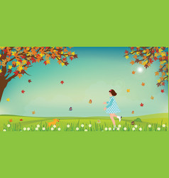 cute little girl and dog catching butterflies on vector image