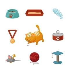 Domestic cat cartoon icons set vector image