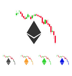 Ethereum fall chart icon vector