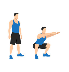 Exercise guide man doing air squat in 2 steps vector