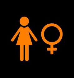 female sign orange icon on black vector image