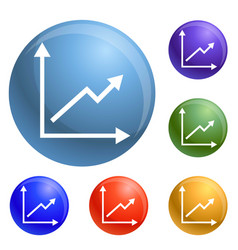 Finance graph icons set vector