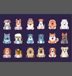 Flat set of cute dogs of different breeds vector