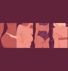 Fragments a woman s body close-ups vector