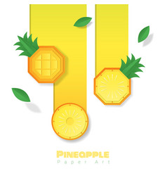 Fresh pineapple fruit background paper art style vector