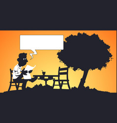 funny man reading at table in park vector image