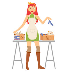 garage sale accessory woman seller vector image