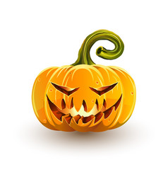 Glowing sinister halloween pumpkin vector