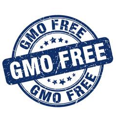 Gmo free blue grunge stamp vector