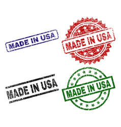grunge textured made in usa seal stamps vector image