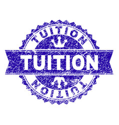 Grunge textured tuition stamp seal with ribbon vector