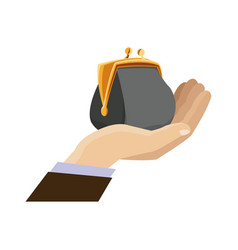 hand business man holding open money purse image vector image