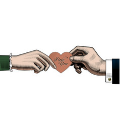 Hand man give a red rose to woman a red heart vector
