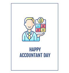 Happy accountant day greeting card with color vector