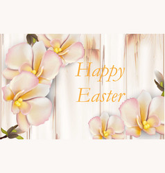 happy easter card with delicate orchid flowers vector image