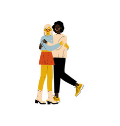 Happy interracial lesbian couple two hugging vector